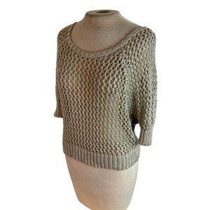 Kenar Loose Weave Sweater Tan Shimmer M Medium